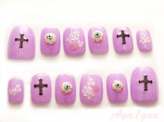 Pastel goth 3D nail art cross eyeballs creepy kawaii by Aya1gou