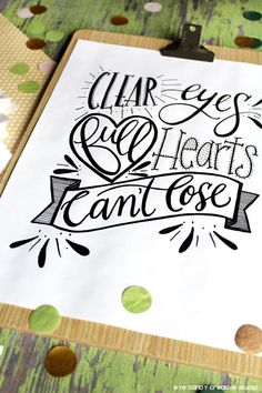 Thank you for visiting Eye Candy Creative Studios Shop on Etsy! Clear Eyes Full Hearts Cant Lose Football Hand lettered Digital Art Print.  This listing is for a hand lettered design, done by me. I have hand drawn, hand lettered this quote & then scanned it in to provide to you as a digital print that can be emailed right to your inbox! This will look amazing framed & placed on the wall in a studio, living room and more. Would be great to give as a gift.  - Print is designed as a 8 x ...