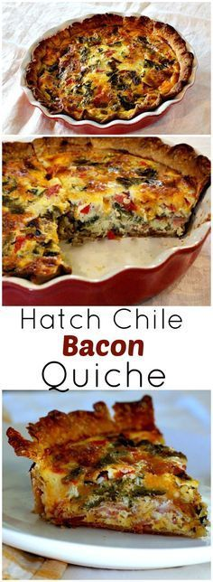 Hatch Chile and Bacon Quiche. - Hatch Chile and Bacon Quiche. Easy, cheesy and crowd pleasing. Hatch Chile and Bacon Quiche recipe. A great Mexican breakfast quiche recipe. Everyone loves this one. via Cooking on The Ranch Breakfast And Brunch, Mexican Breakfast Recipes, Breakfast Quiche, Breakfast Dishes, Best Breakfast, Mexican Food Recipes, Bacon Breakfast, Breakfast Sandwiches, Mexican Brunch