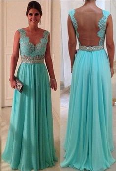 Long Prom Dress Blue Ruched Prom Dress V Neck by RomantourBridal, $144.99