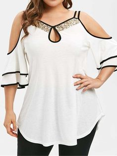Ericdress Ruffle Sleeve Sequins Patchwork Plus Size Blouse Fashion girls, party dresses long dress for short Women, casual summer outfit ideas, party dresses Fashion Trends, Latest Fashion # Plus Size T Shirts, Plus Size Blouses, Plus Size Tops, Plus Size Women, Plus Size Summer Tops, Tops Boho, Short African Dresses, Party Dresses Online, Dress Online