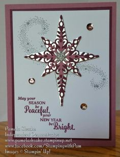 Visions of Sugarplum Star of Light by Galtreas - Cards and Paper Crafts at Splitcoaststampers Christmas Cards 2017, Homemade Christmas Cards, Stampin Up Christmas, Christmas Greetings, Holiday Cards, Winter Cards, Christmas Star, Christmas Items, Winter Christmas