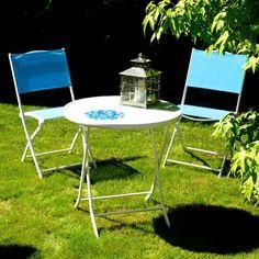 petit salon de jardin turquoise en acier
