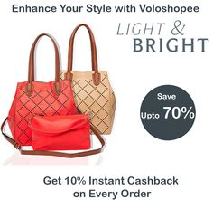 #Voloshopee Big #CashbackSale . Buy #LadiesHandbags and #saveupto70% . Get 10% instant #cashback on every order only on #voloshopee.com. For #shopping check #voloshopee link