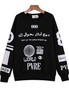 Shop Black Long Sleeve Letters Print Loose Sweatshirt online. Sheinside offers Black Long Sleeve Letters Print Loose Sweatshirt & more to fit your fashionable needs. Free Shipping Worldwide!