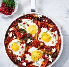 Topped with dippy eggs and tangy feta, this veg-packed Middle Eastern classic is brimming with aromatic flavours.