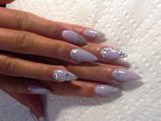 Purple Embellished Gem Nails