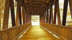 Covered pedestrian bridge that links the Roswell trails to the Chattahoochee River National Recreation Area in Historic Roswell GA