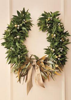 Martha Stewart Living December 2013 Laurel Wreath Garland Gold Silver