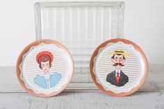 Vintage Lady and Gentleman Tin Trays