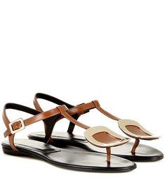 Roger Vivier Thong Chips Embellished Leather Sandals For Spring-Summer 2017