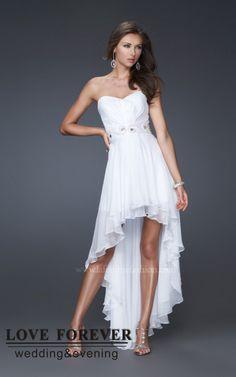 White Cocktail Dresses | ... White Chiffon Short Front Long Back Prom Dresses 2012 Dress Evening