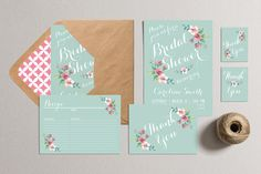 Printable Bridal Shower Invitation Party Pack - Bridal Shower Party Package (mint & pink)