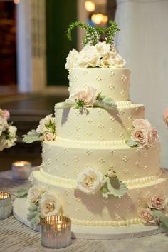 White wedding cake with fresh flowers   Kristine Foley Photography   Wainwright House