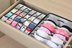 Seriously Life-Changing Clothing Organization Tips Bra Underwear Drawer Organization.I need this! I have more bras than I can deal withBra Underwear Drawer Organization.I need this! I have more bras than I can deal with Organisation Hacks, Storage Organization, Clothing Organization, Bedroom Organization, Organizing Ideas, Smart Storage, Lingerie Organization, Storage Boxes, Organising