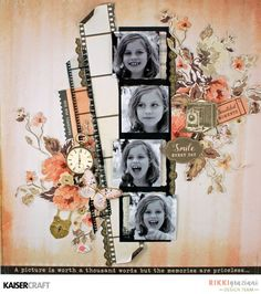 'Smile Every Day' Layout by Rikki Graziani Design Team member Kaisercraft Official Blog. Featuring PS439 Acetate Photo Frames from their June 2017 'Keepsake' collection. Learn more at kaisercraft.com.au/blog ~ Wendy Schultz ~ Scrapbook Layouts.