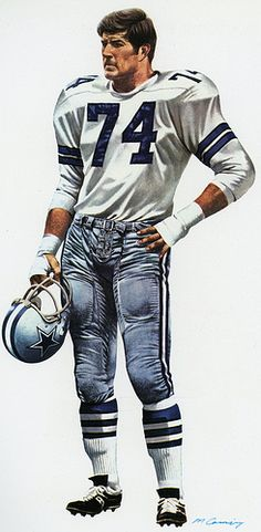 Bob Lilly, defensive tackle 1964 for the Dallas Cowboys. Art by artist Merv Corning.