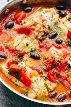 Pan Seared Fish With Tomatoes & Olives is a family favourite and weeknight staple recipe! Light and flavourful, a simple meal in minutes! Cod Fish Recipes, Seafood Recipes, Cooking Recipes, Healthy Recipes, Fish Dishes, Seafood Dishes, Fish And Seafood, Broccoli Nutrition, Cheese Nutrition