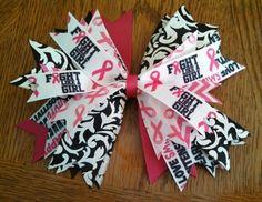 Breast Cancer Awareness Cheer Bow 2013 Diy Bow, Diy Hair Bows, Diy Ribbon, Cheerleading Bows, Softball Bows, Volleyball, Breast Cancer Walk, Breast Cancer Awareness, Ribbon Hair Ties