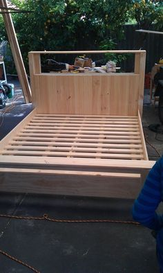 16 Gorgeous DIY Bed Frames- Tutorials, including this DIY bed frame from Instructables, by Nat Andrews.