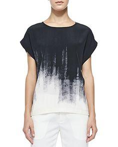 Vince Brushstroke Print Silk Tee in Off White/Black - 11 Main