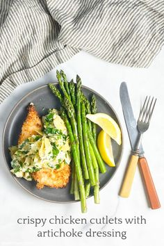 dinner irl: crispy chicken cutlets with artichoke dressing | Sheri Silver - living a well-tended life... at any age Crispy Chicken Recipes, Baked Chicken, Chicken Cutlets, Boneless Chicken Breast, Fresh Lemon Juice, Oven Baked, Artichoke, Green Beans, Dressing