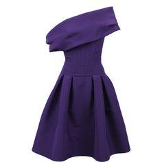 Oscar De La Renta Off-the-shoulder Skirt Dress ($1,445) ❤ liked on Polyvore featuring dresses, vestidos, short dresses, oscar de la renta, off the shoulder dress, fitted dresses, mini dress and off shoulder dress