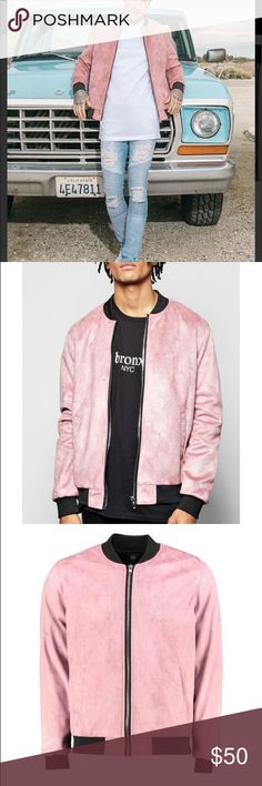 NWT Pink Suedette Bomber Turn your outerwear into shouterwear with a boohooman coat or jacket. We'll make sure your outerwear is out-there with coats and jackets for every occasion. From classic quilted coats and supersize puffa jackets to distressed denim jackets and fur trim parkas, we've got your cold weather warmers covered. For lightweight rather than layers, pair a gilet over a printed tee with denim shorts and trainers. 100% polyester. Suedette bomber jacket. With front pockets…