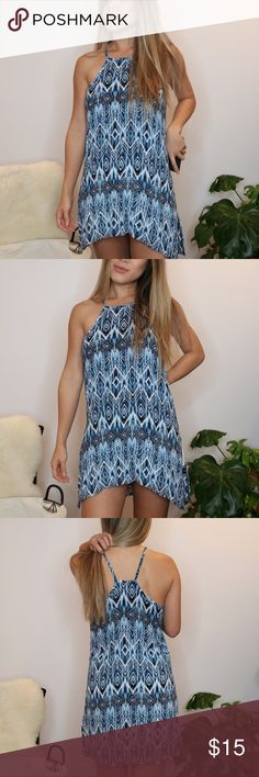 La Hearts blue pattern cover up dress A summer dress perfect to use as a cover up at the beach. This mini dress has slits on both sides. Can be worn casually with white shorts. Condition: lightly worn. Listing is for dress only. La Hearts Dresses Mini