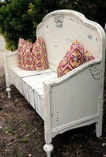 Repurposed vintage bed into a mudroom bench - eclectic - other metro - by Ainslee's Attic