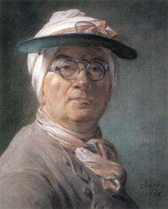 Self-portrait wearing Glasses - Jean-Baptiste-Simeon Chardin - pastel on paper -  WikiArt.org