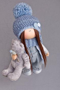 Muñeca tela muñeca textil muñeca invierno muñeca muñeca azul