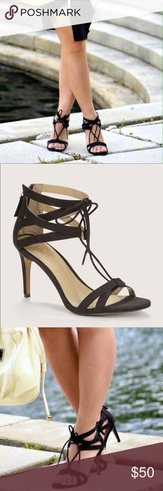 """LOFT / Lace Up Heels Punctuated with a twist. this strappy pair of lace ups is ready for every (and any) getaway. Zip back closure. Padded footbed for comfort. 3 1/2"""" heel. Synthetic. Color: black never worn. Retail: $89.90 LOFT Shoes Heels"""