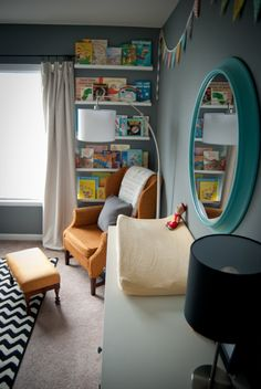 Love the shelves on the narrow wall!