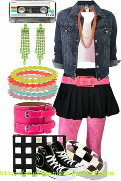 Party kleidung, party fashion, diy fashion, fashion ideas, th 80s Theme Party Outfits, 80s Party Costumes, Costume Ideas, 1980s Costume, 90s Theme, Halloween Costumes, 80s Theme Outfit, 80s Fashion Party, Look 80s
