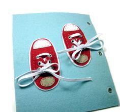 Quiet Book Page  Tie the shoes / Baby quiet book by ZeDesignStudio, $10.00