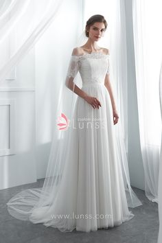 31f46f33223 Ivory Simple Semi-sweetheart Spandex Net Long Wedding Dress with Detachable  Lace Bolero