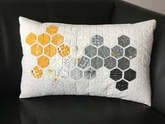"""modern hexie pillow - made using the method """"invented"""" by Nicole Daksiewicz of """"modernhandcraft.com . 2"""" hexies made from a jelly roll of """"Fragile"""" by moda (designed by Brigitte Heitland / Zen Chic). Pillow inspired by Nicole's Fragile pillow: http://modernhandcraft.com/2017/09/hexie-pillow-fragile-fabric/"""