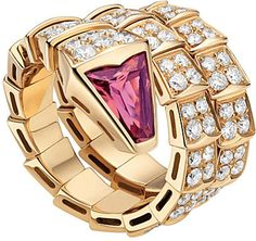 Bvlgari Serpenti double-coil 18ct pink-gold, diamond and rubellite ring on shopstyle.com