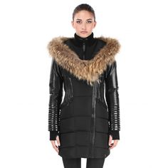 Shauna Leather Down Coat with Fur Trim (Small, Black-Black) Model) Water Resistant Coats, Cowgirl Style, Cowgirl Fashion, Down Coat, Cheap Clothes, My Wardrobe, Coats For Women, Autumn Winter Fashion, Parka