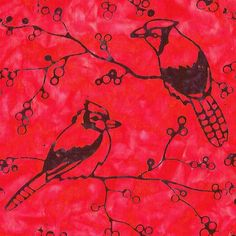 Inspirations - Jays and Berries, Red/Black by Cantik Batik. Distributed exclusively by Brewer Sewing.