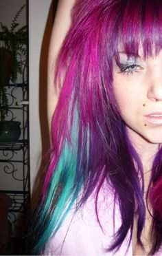 #fuchsia #purple #hotpink #turquoise #hair #dyed #colour