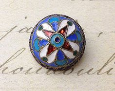 Blue Red White Enamel Antique Picture Metal Button size 17 mm