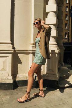 Best Summer Sandals: Lindsey Holland Wears H&M Strappy Flat Sandals Strappy Block Heels, Lace Up Sandals, Gladiator Sandals, Flat Sandals, Summer Shoes, Summer Sandals, Devil Wears Prada, Who What Wear, Summer Girls