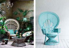 Our Favorite Summer Décor Trend Rattan, Wicker, Peacock Chair, Golden Girls, Mid Century Modern Design, Hanging Chair, Mid-century Modern, Bedroom, Interior