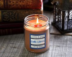 Castle Library Scented Soy Candle Jar books fireplace
