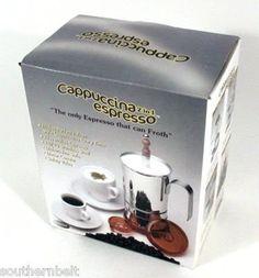 Cappuccino Espresso Stovetop Machine Froths 18/10 Steel - http://teacoffeestore.com/cappuccino-espresso-stovetop-machine-froths-1810-steel/
