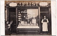 List, Bakers shop, 418 Bethnal Green Rd Philip Mernick's East London Shopfronts spitalfieldslifePhilip Mernick's East London Shopfronts Victorian London, Vintage London, Old London, East London, Vintage Shops, London Pride, Historical Women, Historical Photos, Old Pictures