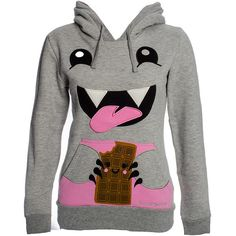 David & Goliath Grey Chocolate Monster Hoodie, Womens Grey Hoodies UK (31.945 CLP) ❤ liked on Polyvore featuring tops, hoodies, jackets, shirts, sweaters, gray shirt, grey hoodie, chocolate brown shirt, chocolate shirt and shirt hoodies