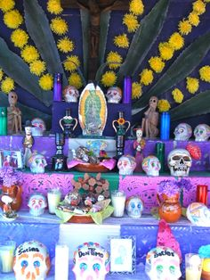 """an alter with decorative """"things"""" for the day of the dead in Mexico."""